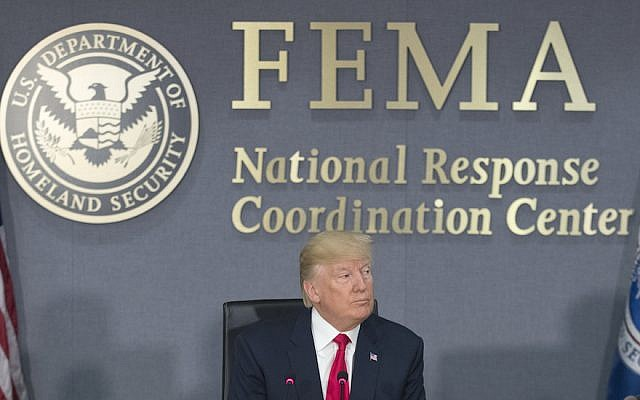 US President Donald Trump speaks during a visit to Federal Emergency Management Agency (FEMA) headquarters on August 4, 2017 in Washington, DC. Trump visited FEMA headquarters to receive a briefing on the hurricane season. (Michael Reynolds - Pool/Getty Images via JTA)
