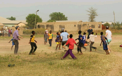 Playing soccer with local kids in Ghana. (Courtesy, Avi Garson)