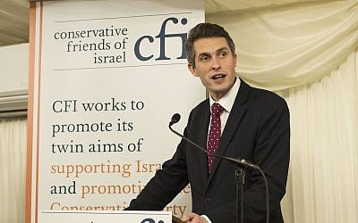 UK Defense Secretary Gavin Williamson speaking during a Conservative Friends of Israel event on January 30, 2018. (Courtesy CFI)