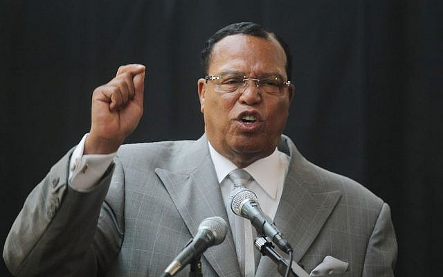 Louis Farrakhan speaking in New York City, June 15, 2011. (Mario Tama/Getty Images via JTA)