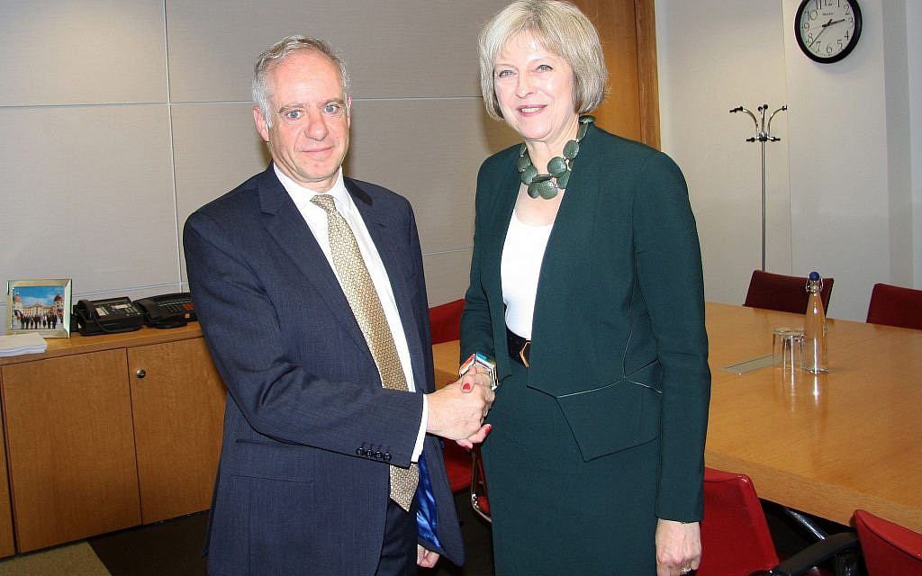 Jonathan Arkush with British Prime Minister Theresa May. (Courtesy)