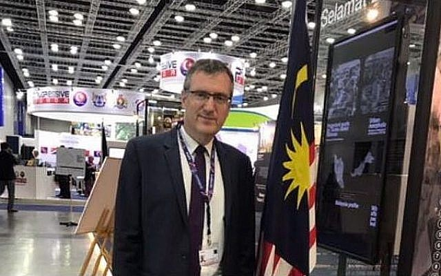 Israeli diplomat David Roet, during his visit to a UN conference in Malaysian capital Kuala Lumpur, in February 2018. (Foreign Ministry)