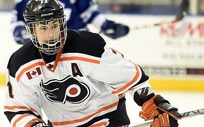 David Levin in action while playing for the Toronto-based Don Mills Flyers in the 2014-15 season. (Courtesy)
