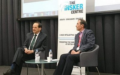 Dan Meridor, left, onstage at a highly protested event at King's College London, February 13, 2018. (Courtesy Pinsker Centre)
