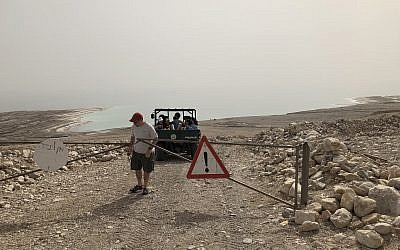 Heading down to Jaky Ben Zaken's boat for a ride on the Dead Sea (Jessica Steinberg/Times of Israel)
