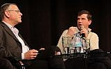 Venture capitalist Michael Eisenberg discusses an alternative message of Purim with Rabbi Benny Lau at a Times of Israel presents event, at Beit Avi Chai, on February 18, 2018. (Tracy Frydberg/Times of Israel)