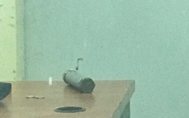 A pipe bomb that a Palestinian man tried to smuggle into the Samaria Military Court on February 13, 2018. (Israel Police)
