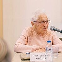 Prof. Alice Shalvi giving a history of religious feminism at the Shalom Hartman Institute on February 14, 2018 (Netanel Tobias)