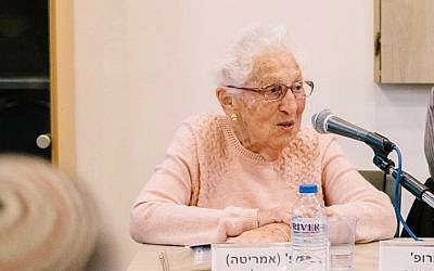 Prof. Alice Shalvi giving a history of religious feminism at the Shalom Hartman Institute on February 14, 2018 (Netanel Tobias)