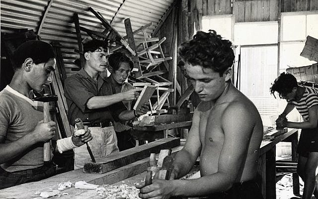 A woodworking class in the trade school established and funded by the American Jewish Joint Distribution Committee at a Cyprus detention camp in 1947. (Courtesy JDC Archives via JTA)