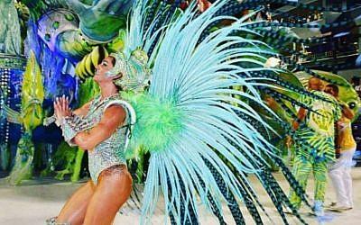 Jewish ex-Brit Samantha Mortner-Flores, at the Rio carnival in Brazil on February 9, 2018. (Credit: @samanthaflores on Instagram via Jewish News)