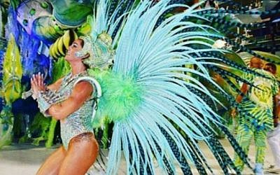 Jewish ex-Brit Samantha Mortner-Flores, at the Rio carnival in Brazil on February 9, 2018. (Credit: @samanthaflores on Instagram via Jewish News)