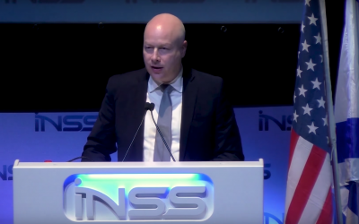Trump administration peace envoy Jason Greenblatt speaks at the INSS conference, January 30, 2018 (INSS screenshot)