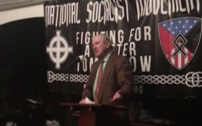 Neo-Nazi leader Arthur Jones speaks in Kentucky, April 2017 (YouTube screenshot)