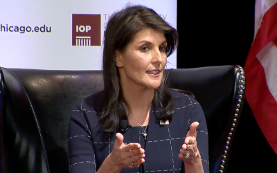US Ambassador to the UN Nikki Haley speaks during a question-and-answer session at the University of Chicago's Institute of Politics on February 22, 2018 (screen capture)