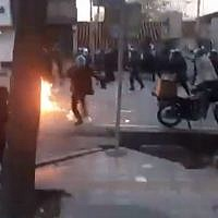 A screenshot of a video from Twitter reporting to show clashes between Sufi protesters and police in Tehran on February 19, 2018. (Screen capture: Twitter)