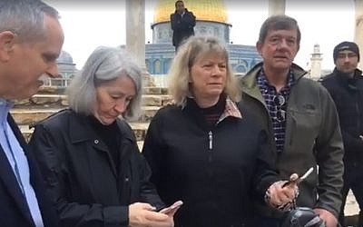 From L to R:  US Congressman David McKinley, his wife Mary Gerkin, Jean Tipton and Congressman Scott Tipton visit the Temple Mount in Jerusalem on February 22, 2018. (screen capture: Facebook)