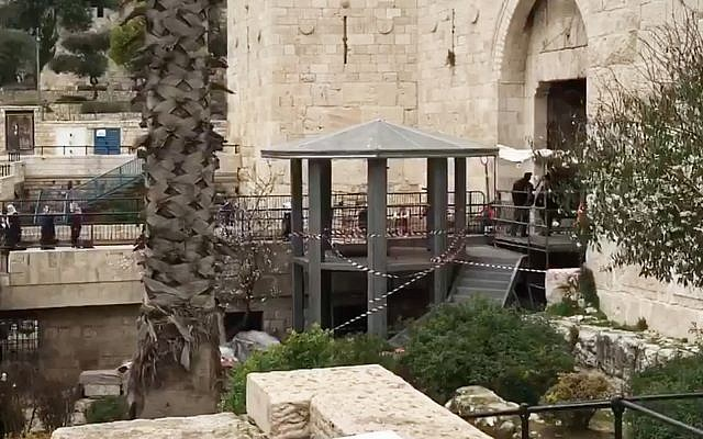 A recently constructed security watchpost outside Damascus Gate in Jerusalem. (Screenshot/Facebook)