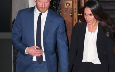 Prince Harry and his princess to be, Meghan Markle, leave an evening event with Markle dressed in a body suit blouse by an Israel-trained designer Courtesy Instagram)