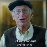 A man participating in a Ruderman Family Foundation campaign released on February 21, 2018, urging the United States to cut its ties with Poland over a law criminalizing blaming the Polish state or nation for crimes of the Holocaust. (Screen capture/YouTube)