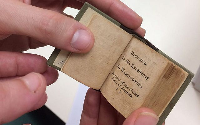 A miniature bible dedicated to George Washington, acquired by the National Library of Israel and published online on February 18, 2018. (From the National Library of Israel Collections)