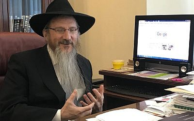 Rabbi Berel Lazar at his office in Moscow, February 5, 2018. (Ariel Schnabel)