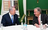 Prime Minister Benjamin Netanyahu (L) with UN Secretary-General António Guterres on the sidelines of the Munich Security Conference, February 16, 2018. (Amos Ben Gershom/GPO)