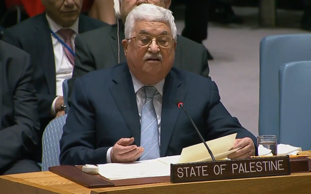 Palestinian Authority President Mahmoud Abbas speaking at the UN Security Council on February 20, 2018. (Screen capture/YouTube)
