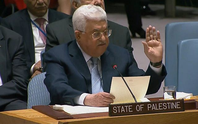Mahmoud Abbas speaking at the UN Security Council on February 20, 2018. (screen capture: UNTV)