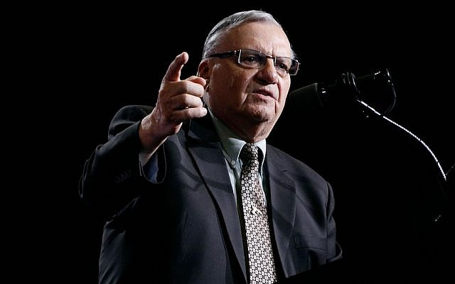 Joe Arpaio speaks at a Donald Trump campaign rally in Phoenix, Arizona, on August 31, 2016. (Ralph Freso/Getty Images)