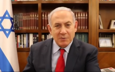 Prime Minister Benjamin Netanyahu speaks in a video statement on February 20, 2018. (Screen capture/Facebook)