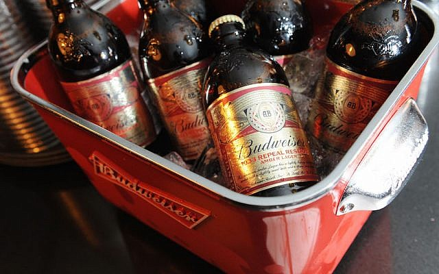 Budweiser beer bottles. (Craig Barritt/Getty Images for New York/via JTA)