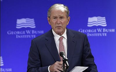 Former US president George W. Bush speaks at a forum sponsored by the George W. Bush Institute in New York, October 19, 2017. (AP Photo/Seth Wenig)