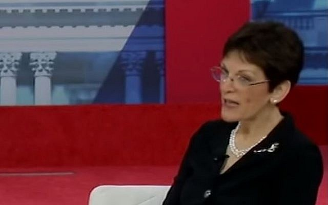 Mona Charen, conservative columnist, on stage at the conservative confab CPAC, Saturday, February 24, 2018. (YouTube screen capture)