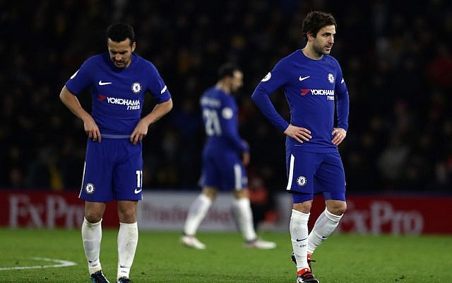 Chelsea players take a break during their match against Watford in Watford, England, Feb. 5, 2018. (Catherine Ivill/Getty Images via JTA)