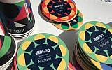 HP Indigo's digital printing technology allows the personalization of products, like coasters with names on them (Shoshanna Solomon/Times of Israel)