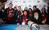 Rabbi Shaya Denburg, co-director of CTeen in Coral Springs, Florida, center, with other Cteen organizers and survivors of the Parkland, Florida, school shooting. (Itzik Roytman/Cteen)