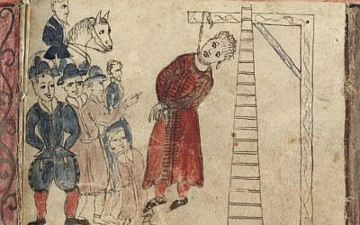 The Hanging of Haman as depicted by scribe and illustrator, Moshe Ben Avraham Pascarol, in the Esther Ferrera Scroll, 1617 (Detail from the collections of the National Library of Israel)