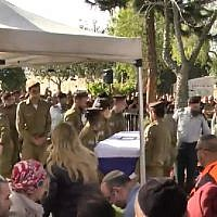 The funeral of Staff Sergeant Shiloh Siman-Tov on February 20, 2018. (Screen capture: Walla)