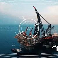 An image from a video by the Lebanese terror group Hezbollah threatening to attack Israeli offshore gas platforms. (Screen capture)