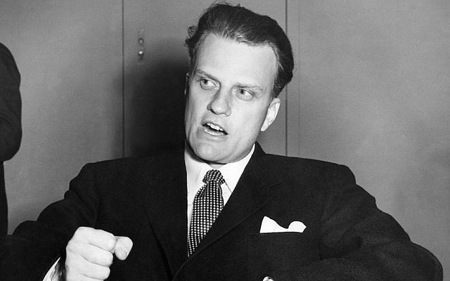 Billy Graham shown in February 1954. (AFP/Getty Images via JTA)