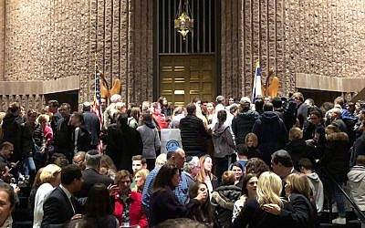 More than 2,100 people attended a gun control rally at Temple B'nai Abraham in Livingston, New Jersey, February 25, 2018. (Facebook via JTA)
