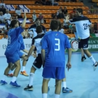 Israel's national youth handball team (blue) competes in the 2016 European championships. (Screen capture/YouTube)