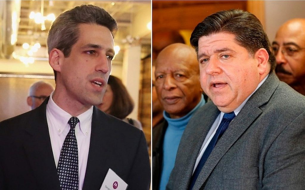 Daniel Biss, left, and J.B. Pritzker are running to be the Democratic nominee for governor in Illinois. (Getty Images/via JTA)