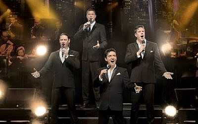 The four popera tenors of Il Divo, performing in Israel in June 2018 Courtesy Il Divo)