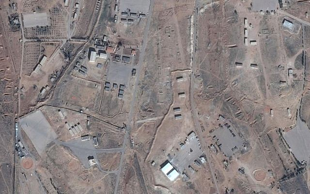 A picture of the alleged Iranian base in Syria. The white hangars can be seen at the bottom center. (Google Maps)