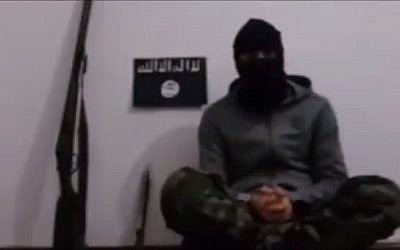 Video of purported Islamic State terrorist who killed five worshipers outside Russian church on February 18, 2018. (Screen capture: Twitter video)