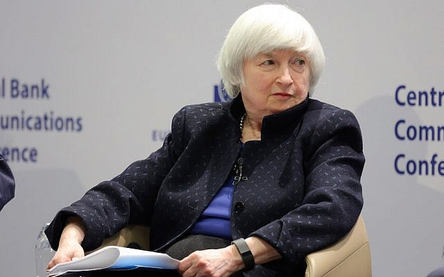 Janet Yellen, Chair of the Federal Reserve, in a panel to discuss central bank communication, in Frankfurt, Germany, November 14, 2017. (Hannelore Foerster/Getty Images via JTA)