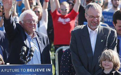 Levi Sanders, right, with his father, Senator Bernie Sanders, at a campaign rally in New York City, April 17, 2016. (Mireya Acierto/FilmMagic/Getty Images via JTA)