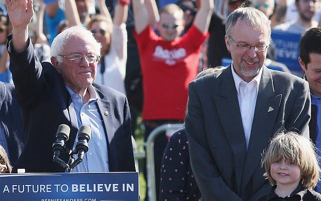 Levi Sanders, right, with his father, Senator Bernie Sanders, at a campaign rally in New York City, April 17, 2016. (Mireya Acierto/FilmMagic/Getty Images via JTA)
